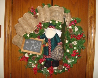 Christmas wreath burlap chalkboard Santa Holiday wreath red white berries pine cones primitive country Christmas Woodland  farmhouse