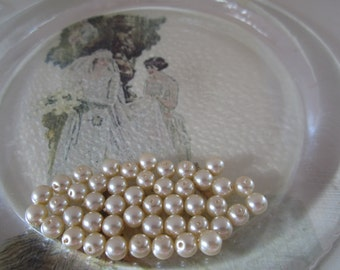 6mm Czech Creme Round Pearls 30Pcs.
