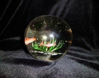 Vintage Glass Paperweight with Oceanic Fish and Plants Controlled Bubble