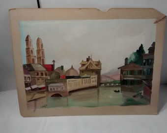 Original watercolor painting  , artist LL Shelby , 1949 Town Scene