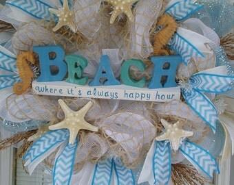 Beach Wreath, Deco Mesh Wreath, BEACH DECO MESH, Starfish n Seahorse Wreath, Starfish Wreath, Seahorse Wreath