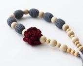 Nursing necklace with flower Grey burgundy necklace Boho chic Crochet jewelry Fall fashion Autumn
