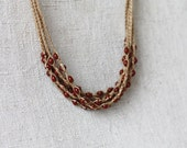 Linen necklace crocheted with brown opaque glass beads Rustic natural jewelry Multi strand necklace Boho Bohemian Simple
