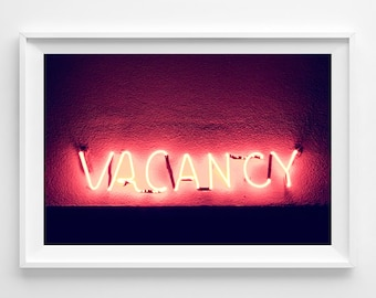 "Neon Sign Photograph Unframed on METALLIC paper / glowing neon / hot pink los angeles city glam LA / photograph print /""Illuminated Vacancy"""