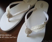 Bridal Flip Flops, White flip flops, flip flops wedding, wedding flip flops,wedding flats, bridal flats, beach wedding, weddings  MDW-0057