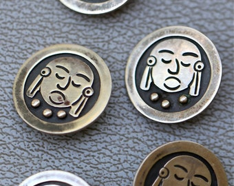 Five Vintage Mexican Taxco Sterling Silver Face Buttons