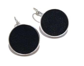 Black Leather Stud Earrings, Leather Earrings, Geometric Earring, black dangle earrings