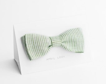 Green bow tie, freestyle bow tie - double sided