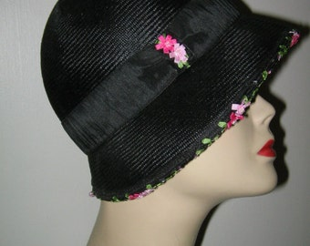 LOUISE GREEN CLOCHE, Black Straw Flapper Hat with Pink Roses
