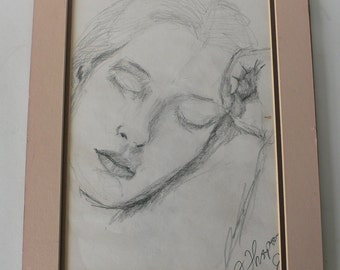 vintage pencil drawing of lady's face, portrait, matted from Diz has Neat Stuff