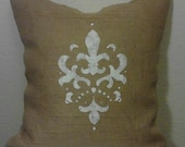 """Fleur de Lis Burlap Hand Painted Pillow Cover18 X 18 or  20"""" X 20"""" Fully Lined For Even Coverage"""