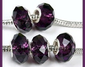 SaLE for 2 Pcs - Beautiful - Transparent DARK PURPLE - AMeTHYST - Murano Faceted - Crystal Glass Beads - fits European Bracelets - GSF-6612