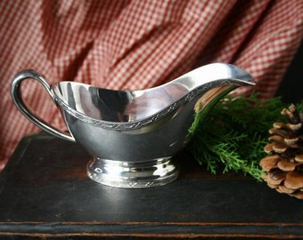 Vintage gravy boat, silver plate gravy boat