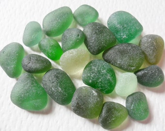Little bag of green sea glass - Lovely mix of shades - English beach finds.