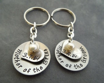 Mother of the Bride, mother of the groom hand stamped stainless steel keychain set