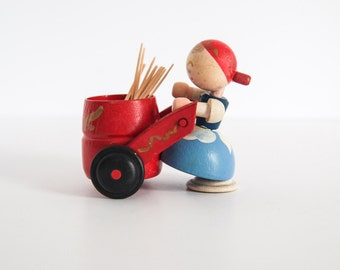 German Doll Wooden Toothpick Holder