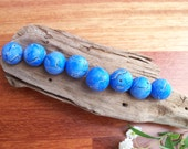 Handmade Polymer Clay Beads, blue torn paper, set of 8, 14mm