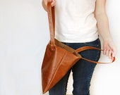 Small Leather Tote Bag, Light Brown or Dark Brown