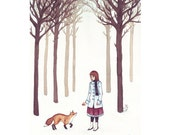 Winter White Girl and Fox in Snowy Forest Print