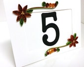 Fall Wedding Table Number - Photo Frame - Autumn Colors Brown, Rust and Gold