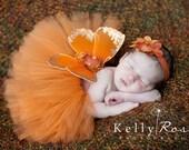 Newborn Tutu, Butterfly Wings, Flower Headband, Photo Prop, Burnt Orange, Autumn Baby, Three Piece Set, Baby Girls