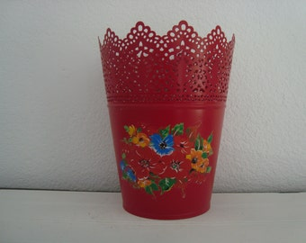 Red Metal Planter - Flower Pot  - Shabby Chic -- Garden - Porch - Patio -  Filigree -Red Blue Yellow Flowers - Vintage Decal - Farmhouse