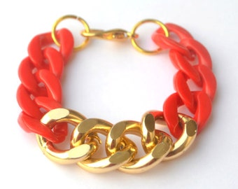 Red and Gold Chunky Chain Bracelet
