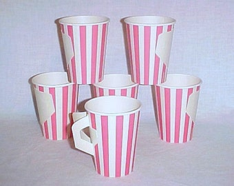 6 Vintage Paper Coffee Cups, Fold Out Handle, Pink & White Striped, Mid Century Picnic Cup, Kitschy Kitchen