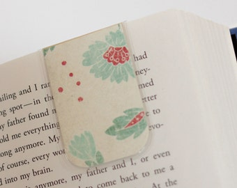 Magnetic Bookmark, Laminated Bookmark, Blue, Teal, Red, Cream, Flowers, Unique, Ready To Ship