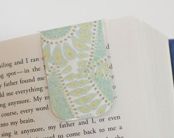 Magnetic Bookmark, Laminated Paisley Bookmarks, Green Blue, White, Unique, Ready To Ship, Christmas Gift