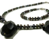 Black Onyx and dark pearl necklace with matching bracelet