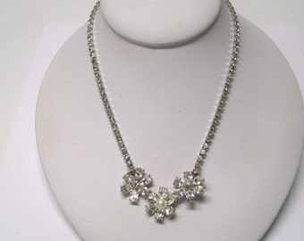 Vintage Crystal Rhinestone Faux Pearl Necklace, Bridal Necklace, Prom Necklace