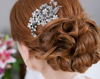Crystal Hair Comb, Rhinestone Bridal Hair comb Vintage Hair Brooch Wedding Jewel Comb Classic Wedding Hair Accessories - Quick Shipper