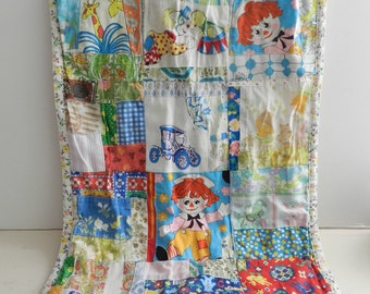 Vintage doll quilt blanket handmade nursery decor wall hanging