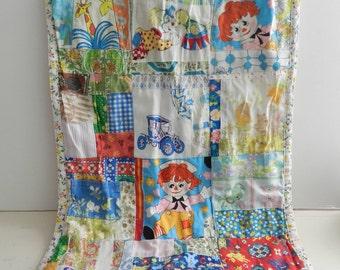 SALE Vintage doll quilt blanket handmade nursery decor