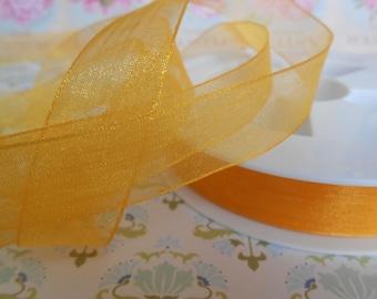 """Ribbon Chiffon Organza Yellow 5/8""""width 5 yards"""