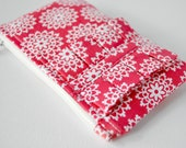 Womans intricate ruffle coin purse wallet doily lace print in bright red and white with ruffle.