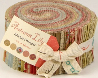 Autumn Lily jelly roll by blackbird designs for Moda Fabric