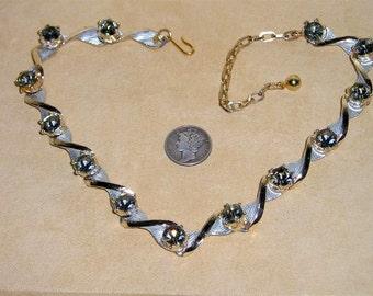 Vintage Unsigned Emmons Necklace With Black Diamond Rhinestones Choker 1960''s Jewelry 72
