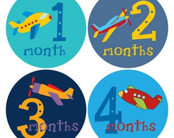 Airplane Baby Stickers, Bodysuit Month Stickers, Baby Photo Props, Milestone, Baby Shower Gift (193)