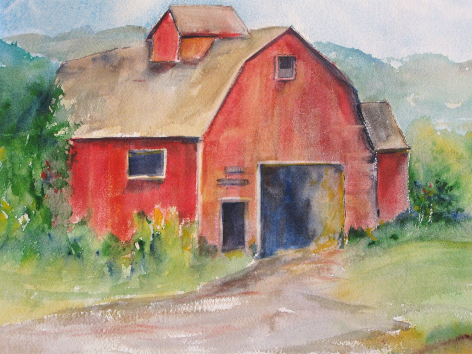 Red barn watercolor painting new england farm 11 x for Watercolor barn paintings