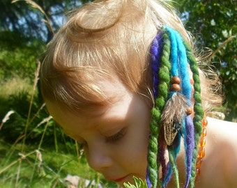 Mini Clip In Dreads Short Pixie Dreadlocks Felted Dreads Handspun Felt Wool Locks Festival Weft Tribal Pixie Earth Gypsy Hair Feathers Child