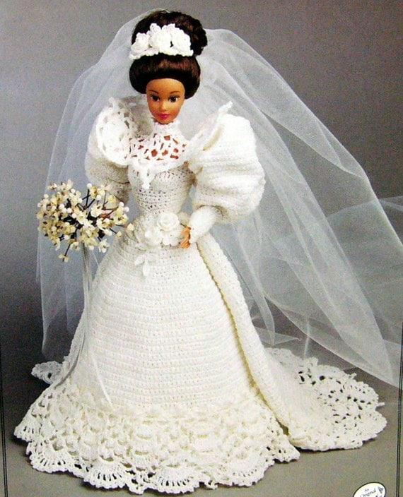 Barbie doll crochet bridal wedding gown pattern pdf for Wedding dresses for barbie dolls
