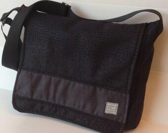 vegan black men messenger bag, black cross body bag, over the shoulder bag, laptop bag, work bag, back to school