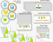 Monster Bash Birthday Party Decor, Monster Banner, Food Labels, Cupcake Toppers, Water Bottle Wrappers, Thank You Cards - Printable