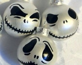"NBC Inspired hand painted glass 1.5"" Jack Skellington ornaments clearance & FREE SHIPPING"