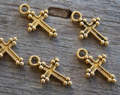 12 Tiny Gold Cross Charms  14mm Antiqued Gold