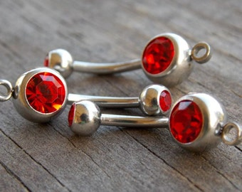 12 Red Crystal Belly Button Ring with Loop to Add Charm 14 Gauge  304 Surgical Stainless Steel