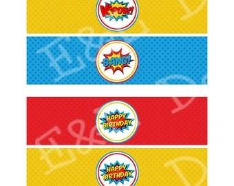 Superhero Waterbottle lables, Superhero Birthday Party, Instant Download,Printable, Digital
