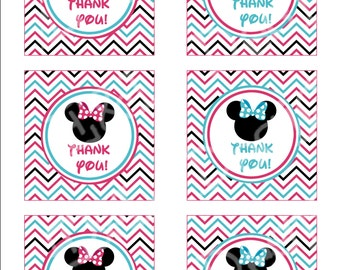 Minnie Mouse Thank You Tags, Minnie Mouse Birthday Party, Instant Download, Digital
